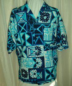 Vintage 60's Mens Blue & White Hawiian Tiki Barkcloth Tapa Shirt Rockabilly for sale at irishcherrydoll.com