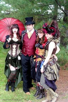 Cute steampunk group cosplay