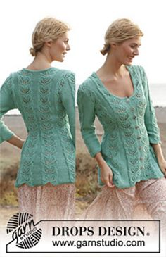"""Ravelry: 138-5 Grace - Fitted jacket with lace pattern and ¾ sleeves in """"Muskat"""" pattern by DROPS design"""