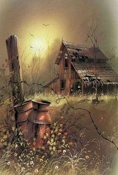 Andres Orpinas in 2019 Country Barns, Old Barns, Country Life, Barn Pictures, Pictures To Paint, Tole Painting, Painting & Drawing, Landscape Art, Landscape Paintings