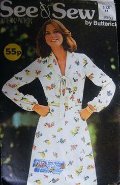 Vintage Butterick Sewing Pattern*Ladys Summer Dress*Tie-Neck*Size 14* |