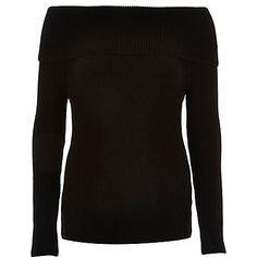 Black knitted bardot jumper £35.00