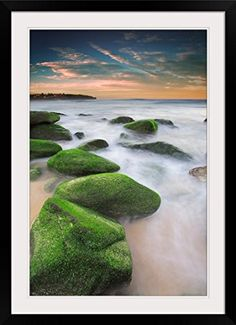 GreatBIGCanvas Green mossy rocks at Curl Curl Beach Northern Beaches Sydney NSW Australia Photographic Print with Black Frame 24 x 36 -- You can find out more details at the link of the image.Note:It is affiliate link to Amazon.