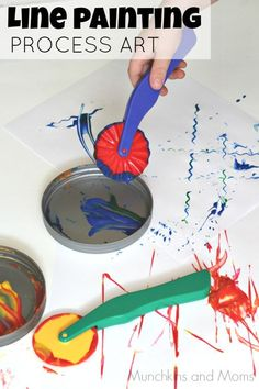 Line Painting Process Art- awesome for toddlers and preschoolers!