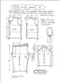 Esquema de modelagem de pijama unisex tamanho 40.