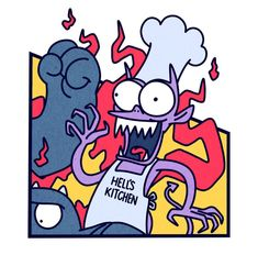 Devil - Hell's Kitchen, The Simpsons: Treehouse of Horrors Simpsons Drawings, Simpsons Art, Physics Humor, Engineering Humor, Cute Animal Memes, Goth Art, Hippie Art, Mural Art, Game Art