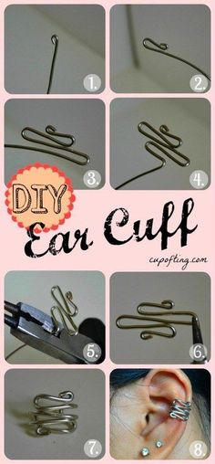 DIY ear cuff diy easy crafts diy ideas diy crafts do it yourself easy diy cuff diy tips diy images do it yourself diy jewelry diy craft ideas diy tutorial diy ear cuffs Do It Yourself Schmuck, Do It Yourself Jewelry, Do It Yourself Fashion, Wire Crafts, Jewelry Crafts, Handmade Jewelry, Jewelry Ideas, Jewelry Supplies, Ear Cuff Tutorial