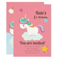 Cute Rainbow Unicorn With Stars Birthday Card