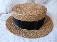 Antique French straw boater hat w ribbon leather rim bow  menshat   strawboater  canotier 427e6d41c2aa