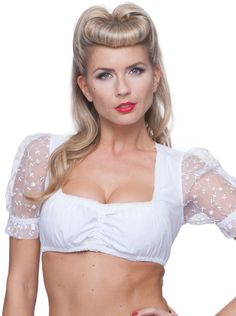 Stockerpoint Traditional Costume Dirndl Blouse B1035 White
