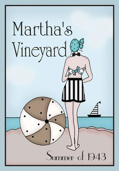Martha's Vineyard 1943 Vintage  5x7 art print in by PaperBleu, $20.00