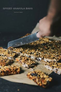 Fall themed spiced granola bars with molasses.