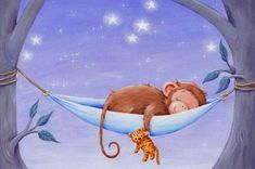 Animals Images, Animal Pictures, Cute Pictures, Cute Animals, Monkey Illustration, Good Night Moon, Nighty Night, Stars And Moon, Warm And Cozy