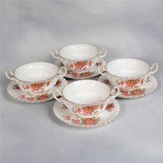 """SET OF 4 ROYAL ALBERT """"CENTENNIAL ROSE"""" CREAM SOUPS & UNDERPLATES Cream Soups, China Sets, Royal Albert, Teapots, Tea Set, Cup And Saucer, Tea Time, Tea Cups, Decorating Ideas"""