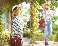 8 Seconds Ripped Boyfriend Jeans, Old Navy Striped Sweater, Blackfive Bucket Bag, Oasap Slip Ons, H&M Straw Hat