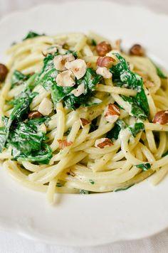 spaghetti with spinach, lemon, hazelnuts, and mascarpone