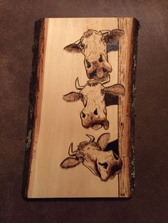 Crazy Cows wood burnt art Wood Burning Crafts, Wood Burning Patterns, Wood Burning Art, Pyrography Designs, Cow Art, Diy Holz, Picture On Wood, Wooden Crafts, Wood Carving