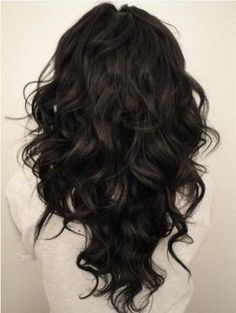 V-cut Hairstyle for Long Curly Wavy Black Hair