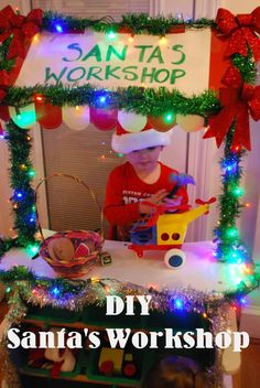 Transform your children's grocery store (or tool bench) into their very own Santa's Workshop! 24 Winter Activities in 25 Days! Preschool Christmas, Christmas Activities, Winter Activities, Christmas Photos, Christmas Themes, Winter Christmas, Kids Christmas, Christmas Decorations, Daycare Decorations