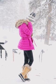 Ralph Lauren coat (on major sale), similar vest here // white slouchy sweaterblack leggings // Sorel boots (borrowed from my mom!), similar here // monogram necklaceAmerican Eagle hat (no longer onlin