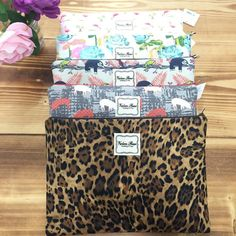 """#ValereRene Large Insulated Cosmetic Bag: Your favorite cosmetic bag now comes with a wipe-able liner!  It's the same size as the large bag in the travel trio set, but now lined and sold separately.  $40.00 each.  8"""" H x 12"""" L x 4"""" W   #ShopBellis #ShopBellisBoutique #BellisBoutique #Leopard #MakeUpBag"""