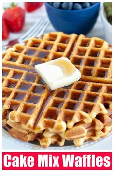 Easy Cake Mix Waffles are great for breakfast! Made with your favorite cake mix flavor, these cook quick and are loved by everyone. Try chocolate, red velvet, even strawberry waffles. So many possibilities. #cakemix #cakemixwaffles