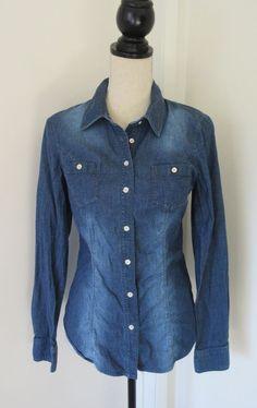 Guess Denim Button Down Long Sleeve Shirt Sz M Womens Fitted Silver Button #GUESS #ButtonDownShirt #Casual
