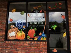 Custom Window Art with Bright Fall Colors!