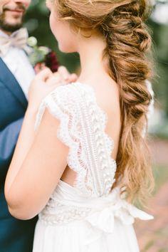 Beaded eyelash lace wedding dress strap: http://www.stylemepretty.com/2016/02/17/bohemian-wedding-dresses/