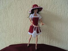 Crochet Barbie dress with hat and handbag