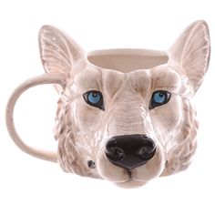 Coffee Mug Novelty Wolf Head Shaped Ceramic Cup by getgiftideas