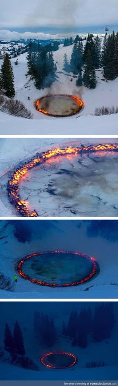 A ring of fire blazes in the middle of the swiss alps Land Art, Beauty Dish, Beautiful World, Beautiful Places, Illusion Kunst, The Wicked The Divine, Instalation Art, All Nature, Art Plastique