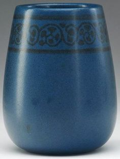 Marblehead Pottery | Marblehead Pottery; Baggs (Arthur), Vase, Tapered, Foliate Band, Matte ...
