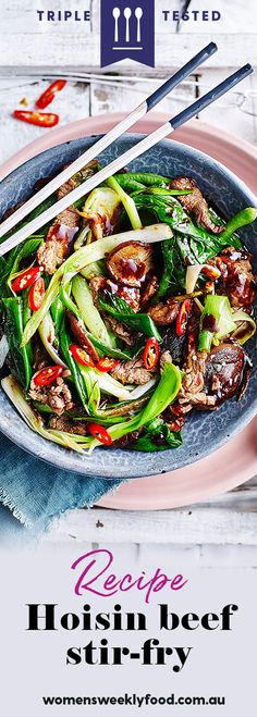 This hoisin-beef stir fry is your last-minute dinner saviour Australian Recipes, Australian Food, Rice Recipes, Asian Recipes, Cooking Recipes, Beef Recepies, Recipies, Stiry Fry Recipe, Ricotta Stuffed Chicken