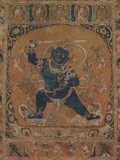 Thangka with Vighnantaka, early 1200s Mongolia, Tangut Xia, Khara Khoto (1032-1227), early 13th century, silk tapestry, Overall: 102.30 x 74.00 cm (40 1/4 x 29 1/8 inches). Purchase from the J. H. Wade Fund 1992.72