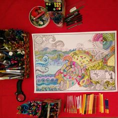 My location #myart #MyTangle #drawing #zentangle #tangle #doodle #paint #colors #sea #flower #seahorse #gecko