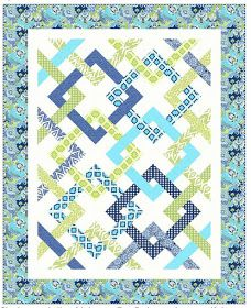 = free pattern = Fresh Connections by Jean Katherine Smith for Windham Fabrics. Featured at Quilt Inspiration. Strip Quilts, Easy Quilts, Quilt Block Patterns, Quilt Blocks, Patchwork Patterns, Patch Quilt, Pdf Patterns, Quilting Projects, Quilting Designs