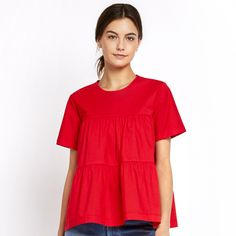 In light, airy, punchy red cotton, this super-feminine short-sleeve top instantly elevates a simple jeans-and-sandals outfit, and works perfectly dressed up...