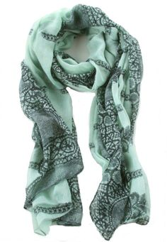 NEW Anthropologie MINT/Sage Green & Black BOHO Print SCARF - Perfect for SPRING