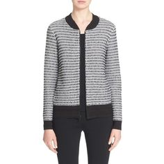 St. John Collection Basket Knit Bomber Jacket (€520) ❤ liked on Polyvore featuring outerwear, jackets and caviar multi
