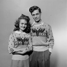 Matching sweaters with your sweetheart. 1940s Iowa teens via the Life archive.