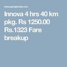 Innova 4 hrs 40 km pkg. Rs 1250.00  Rs.1323  Fare breakup