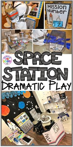 How to make your center into a space station and add math, literacy, and STEM into their play. For preschool, pre-k, and kindergarten. images Space Station Dramatic Play - Pocket of Preschool Kindergarten Montessori, Preschool Classroom, Preschool Activities, Math Literacy, Family Activities, Summer Activities, Space Activities For Preschoolers, Preschool Rocket, Kindergarten Stem