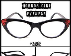 Horror Girl Eyewear - Vintage Retro Cat Eye Eyeglasses Frame (Cobweb, Spider, Monster, Creepy) - Custom Painted - One of a kind!