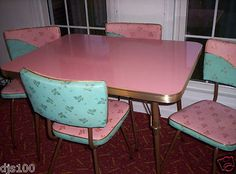 WOW!!!!  Vintage Kitchen Formica Table & Leaf 4 Chairs Turquoise Pink 1950's