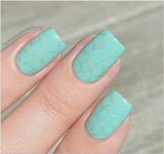 Stamped Mint Green Nails: The holo polish is my fave.  Koh: Platinum Silver