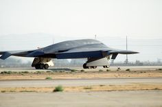 A B-2 Spirit bomber lines up on the runway in final preperation for the first flight ever for the air frame July 17, 1989, at the Northrop Grumman production facility in Palmdale, California. The first flight was just over two hours long, and ended at Edwards Air Force Base, California, where the aircraft underwent further testing both on the ground and in the air. (Defense Imagery Management Operations Center photo/Released)