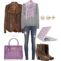 Pretty purple College School Fall Outfit by natihasi on ...