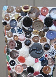 Folk Art Button Mosaic Vase