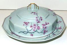 Bernardaud Limoges Art Deco Porcelain Dish Wisteria Vine Pate Vert Deau France